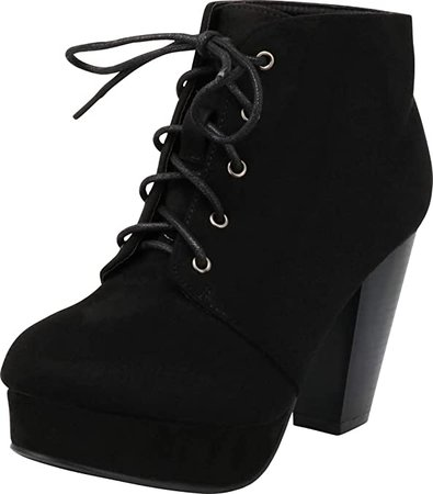 Amazon.com | Forever Camille-86 Women's Comfort Stacked Chunky Heel Lace Up Ankle Booties, Black, 7 | Ankle & Bootie
