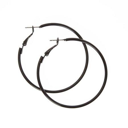 50MM Hoop Earrings - Black   Claire's US
