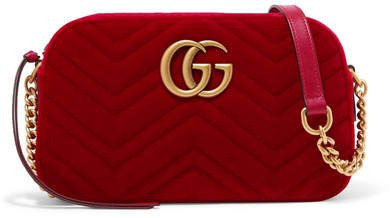 Gg Marmont Small Quilted Velvet Shoulder Bag - Red