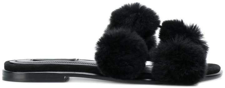 rabbit fur sandals
