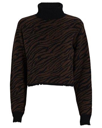 RtA Beau Zebra Turtleneck Sweater | INTERMIX®