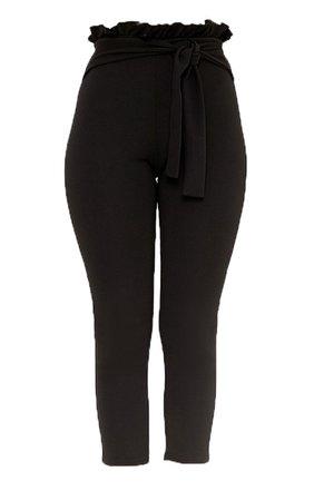 Perlita Black Paperbag Skinny Trousers | PrettyLittleThing USA