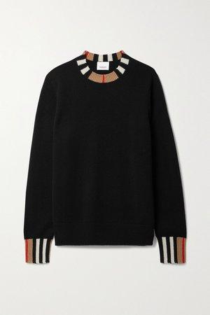 Black Striped cashmere sweater | Burberry | NET-A-PORTER