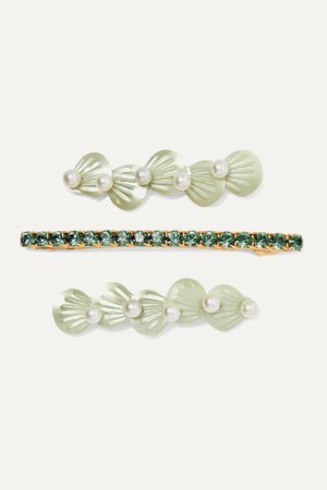 Green Seafoam set of three gold and silver-tone faux pearl, crystal and resin hair clips | LELET NY | NET-A-PORTER
