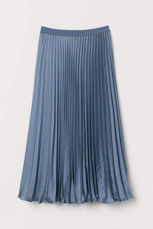 Pleated Satin Skirt - Blue