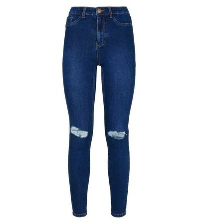 Bright Blue Ripped High Waist Super Skinny Hallie Jeans | New Look