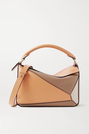 Puzzle Small Color-block Leather Shoulder Bag - Sand