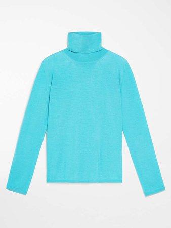 "Wool polo neck jumper, turquoise - ""KIPUR"" Max Mara"