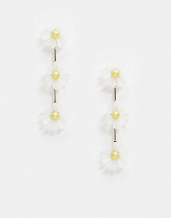 Monki daisy drop earrings in white and gold | ASOS