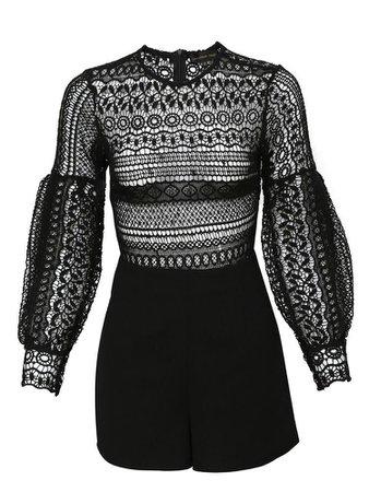 Black Lace Round Neck Crochet Jumpsuit