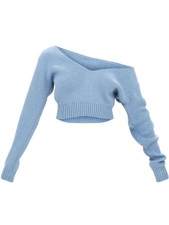 baby blue off the shoulder long sleeve cropped sweater