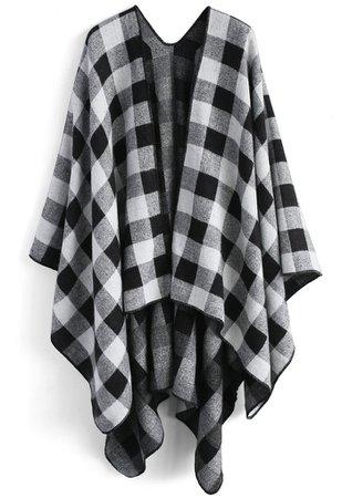 Classic Black Check Blanket Cape - OUTERS - Retro, Indie and Unique Fashion