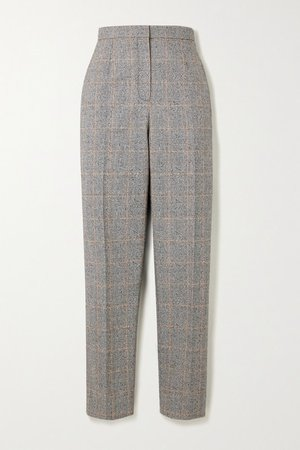 Prince Of Wales Checked Wool-blend Tapered Pants - Black
