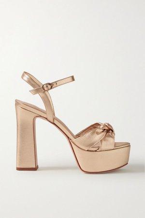 Gold Knotted metallic leather platform sandals | Porte & Paire | NET-A-PORTER