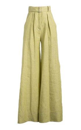 Pleated Linen Wide-Leg Pants By Matthew Bruch   Moda Operandi