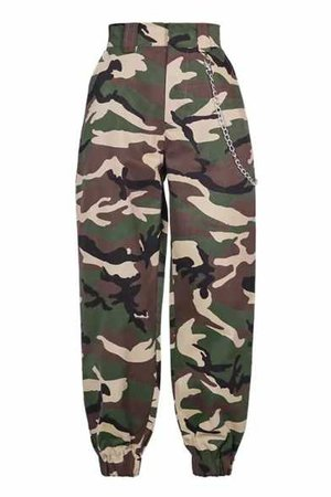 Camouflage Printed Chain Embellished Elastic Waist Loose Pants - Beautifulhalo.com