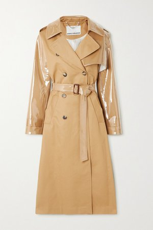 Cotton-gabardine And Pvc Trench Coat - Beige