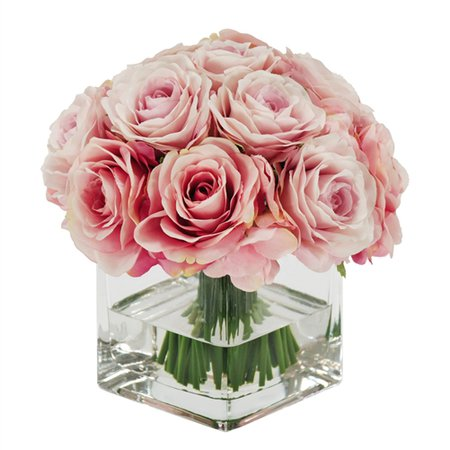"""Rose Bouquet in Square Glass Vase 8"""" Pink"""
