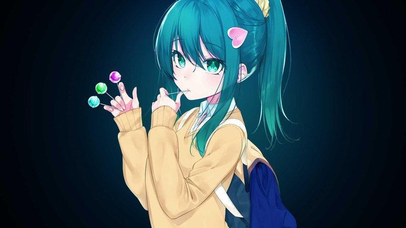 anime girl with bright blue hair