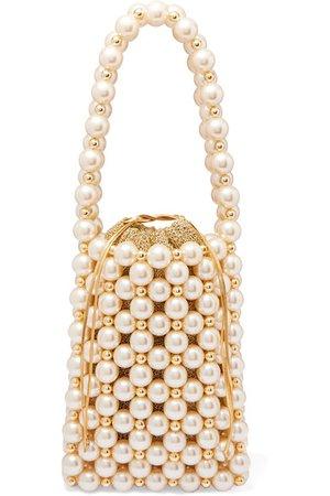 Vanina | Sicilia faux pearl and gold-tone beaded tote | NET-A-PORTER.COM
