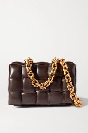 Cassette Chain-embellished Padded Intrecciato Leather Shoulder Bag - Dark brown