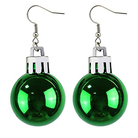 Christmas Green Ball Earring Celebration Decoration Dangle Earrings For Girls Women: Jewelry