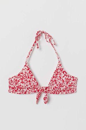 Padded Triangle Bikini Top - Red