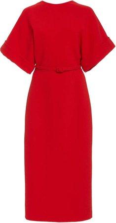 Oscar de la Renta Belted Wool-Blend Midi Dress
