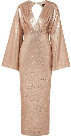 Sequined Crepe Gown - Neutral