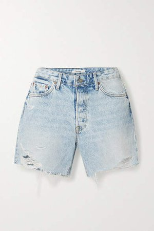 Jourdan Distressed Denim Shorts - Light denim