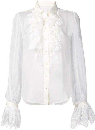 Saint Laurent ruffle lace trim shirt
