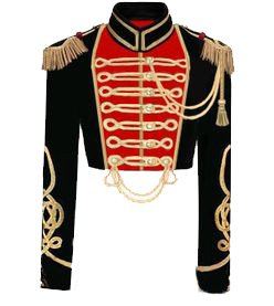 Red, Black & Gold Military Crop Jacket With Cape