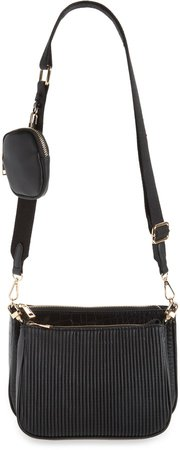 Faux Leather Crossbody Bag with Coin Pouch