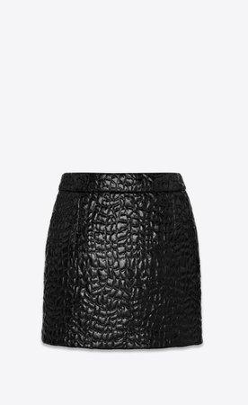 Saint Laurent Mini Skirt In Lacquered Crocodile Look Fabric  | YSL.com