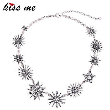 KISS ME Charming Silver Color Rhinestone Snowflake Necklaces for Women 2017 Choker Necklace Fashion Jewelry|snowflake necklace|fashion necklacenecklace fashion - AliExpress