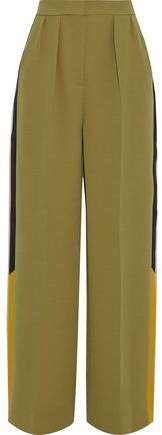 Esca Satin-trimmed Crepe Wide-leg Pants