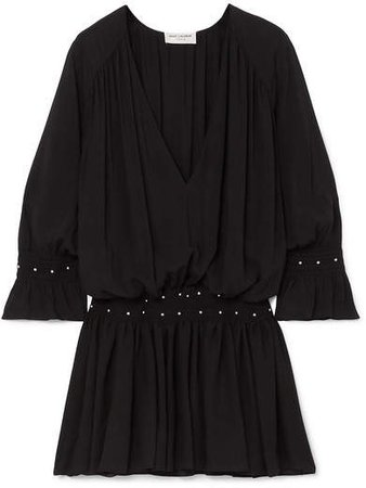 Studded Jersey Mini Dress - Black
