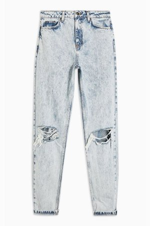 Bleach Acid Double Rip Mom Jeans | Topshop