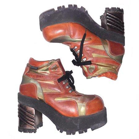 90s y2k Vintage Destroy Orange Iridescent Club Rave Boot | Etsy