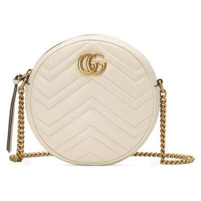 White Leather GG Marmont Mini Round Shoulder Bag | GUCCI® US