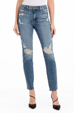 Cher Ripped High Waist Ankle Slim Jeans