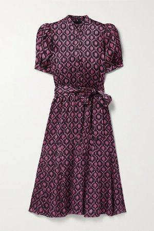 Alice Olivia - Neoma Belted Floral-print Satin Midi Dress - Pink