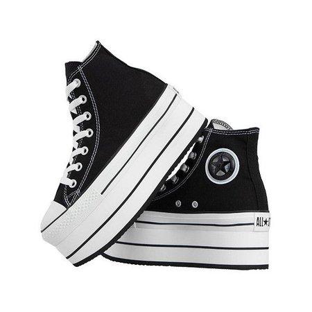 High-Top Black & White Platform Converse