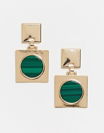 ASOS DESIGN earrings with green stone square drop in gold tone | ASOS
