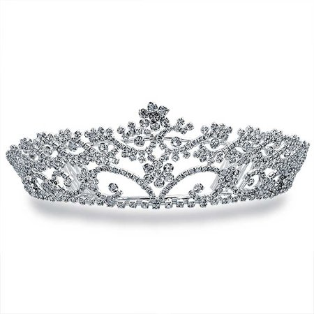 Silver Plated Rhinestone Flower Headpiece Crown Tiara