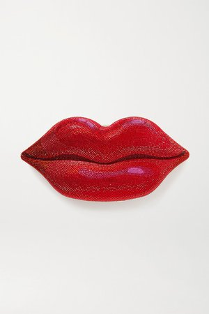 Hot Lips Crystal-embellished Silver-tone Clutch - Red