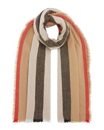 Burberry Icon Stripe Wool-Cashmere Scarf   Neiman Marcus