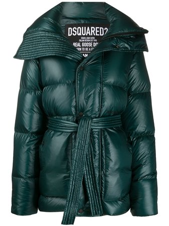 Shop green Dsquared2 high-shine tie-waist quilted down coat with Express Delivery - Farfetch
