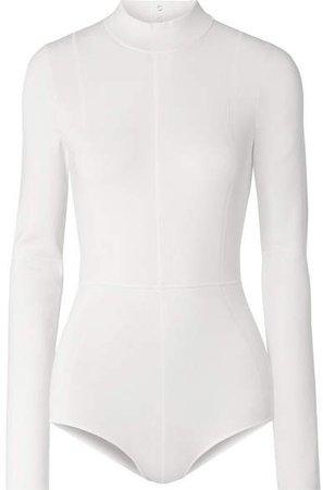 Cutout Stretch-jersey Bodysuit - Ivory