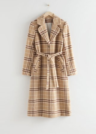 Belted Wool Blend Coat - Brown Checks - Woolcoats - & Other Stories